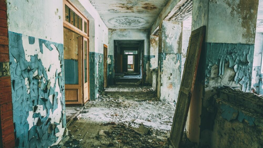 Opuštěná škola ve městě Pripjat