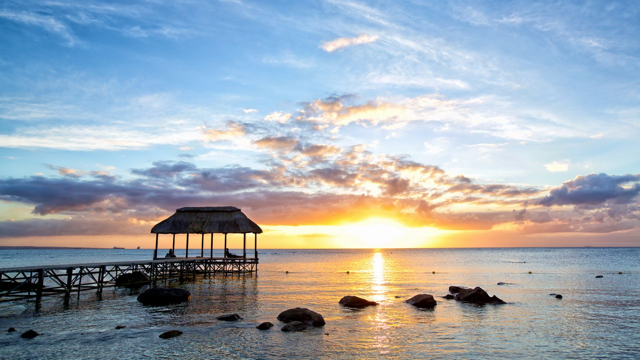Západ slunce na ostrově Mauricius