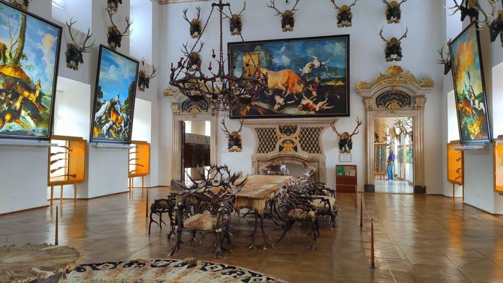 Sál s parožím a obrazy - zamek hluboká